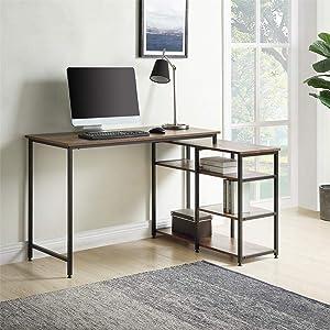 4 ft Length-Home Office L-Shaped Computer Desk Left/Right Set Up Vintage Brown Industrial Style Corner Desk with 4 Tier Open Shelves Brown Color