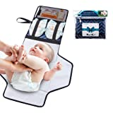 Portable Changing Mat with Storage by Willcare - Travel Diaper Changing pad for Baby Show Gift with Cushion - Foldable Waterproof Diaper Changing Station Kit with Zipper in Lightweight