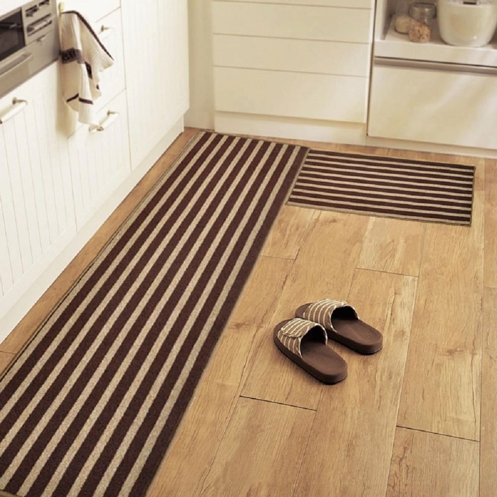 2-PIECE Non-Slip Kitchen Mat Rubber Backing Doormat Runner