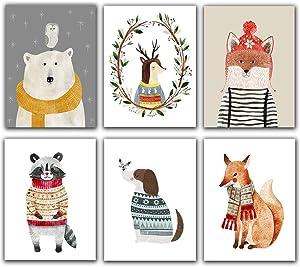 """Fox Polar Bear Raccoon Dog Deer Happiness Playful Woodland Creatures - Kids Room, Nursery Decor and Home Decor -Nursery Wall Art - (Set of 6) Unframed 8""""x10"""" for Baby's Room Décor"""