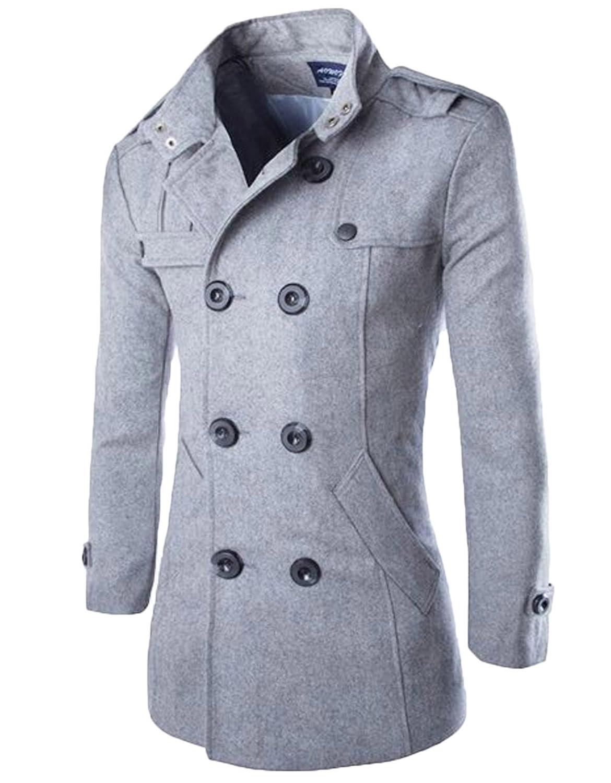 Elonglin Herren Klassik Jacke Retro Trench Zweireiher Mantel