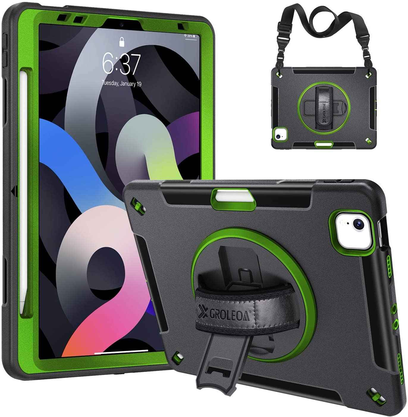 GROLEOA iPad Air 4th Generation 2020 with Pencil Holder Support Charging, 360 Rotating Stand Handle Shoulder Strap Heavy Duty Rugged Protective Shockproof Tablet Case for iPad Air 4 10.9 inch-Green