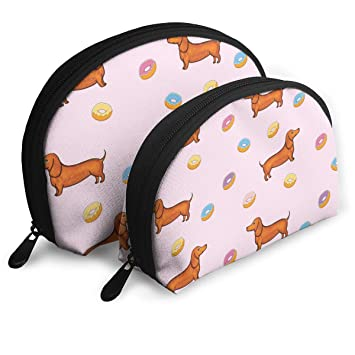 29344f3e9266 Amazon.com : Makeup Bag Cute Dachshund And Donut Handy Half Moon ...