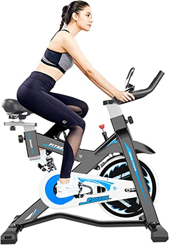 Afully Indoor Exercise Bike Indoor Cycling Bike Stationary,Magnetic Resistance Belt Drive Spring Shock Absorber Tablet Holder Stable and Quiet D600-9
