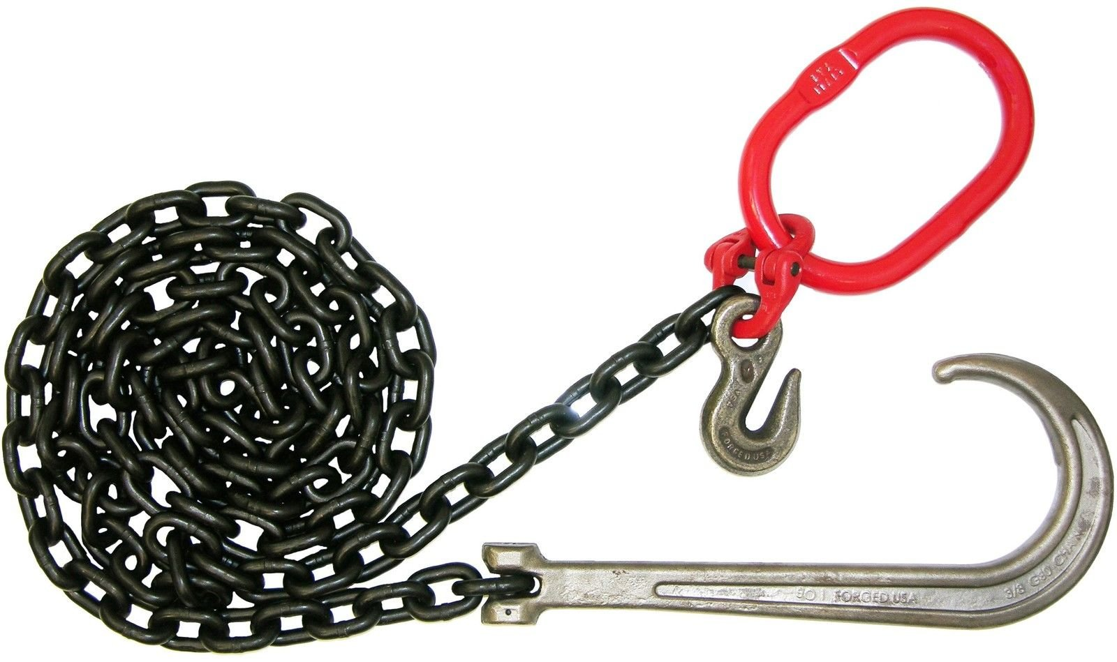 STRONG! BA Products G8-3810JOG STRONG! 3/8'' x 10' Grade 80 Chain Assembly, Grade 80 Clevis J & Grab Hook for Wrecker, Rollback, Recovery