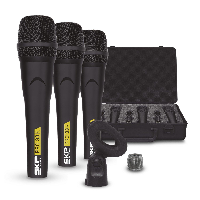 SKP Pro Audio PRO-33K Dynamic Cardioid Microphone Kit (3 Microphones) by SKP Pro Audio