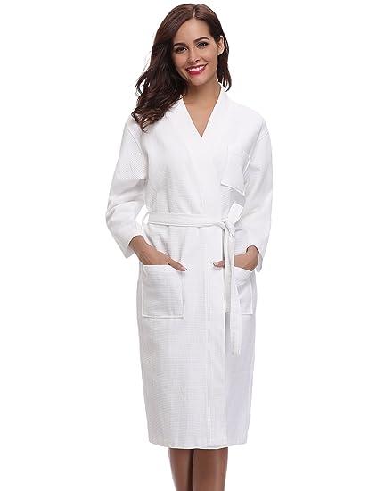 2d7ceee488223 Aibrou Robe de Chambre Kimono Tissage Gaufré Femme 100% Coton Waffle  Peignoir de Bain Légère