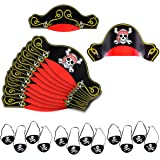 Pirate Party Supplies for kids - 12 Pirate Hats with 12 Eye Patches, Party favors - by Tigerdoe (24pc)