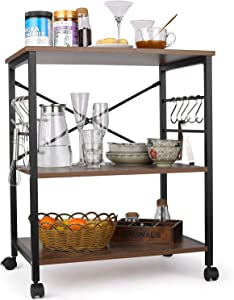 Himimi Kitchen Baker's Rack, 3-Tier Microwave Oven Stand with Metal Frame and 10 Hooks, Industrial Storage Stand for Kitchen Living Room Decoration, Rustic Brown