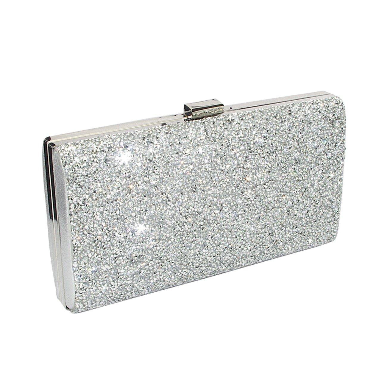 Silver Clutch Evening Bag, Fit & Wit Giltter Beaded Flap Clutch Evening Handbag Purse