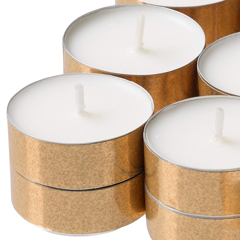 Ikea MEDGE Lot de 90 Bougies Chauffe-Plat parfum/ées /à la Vanille avec Tasses dor/ées Effet Paillettes