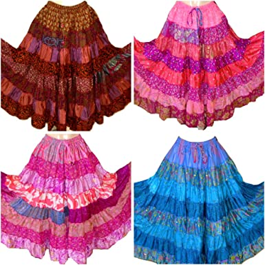 1 Assorted Tribal 7Yard Gypsy Maxi Tiered Belly Dancing Skirt Silk Blend Banjara