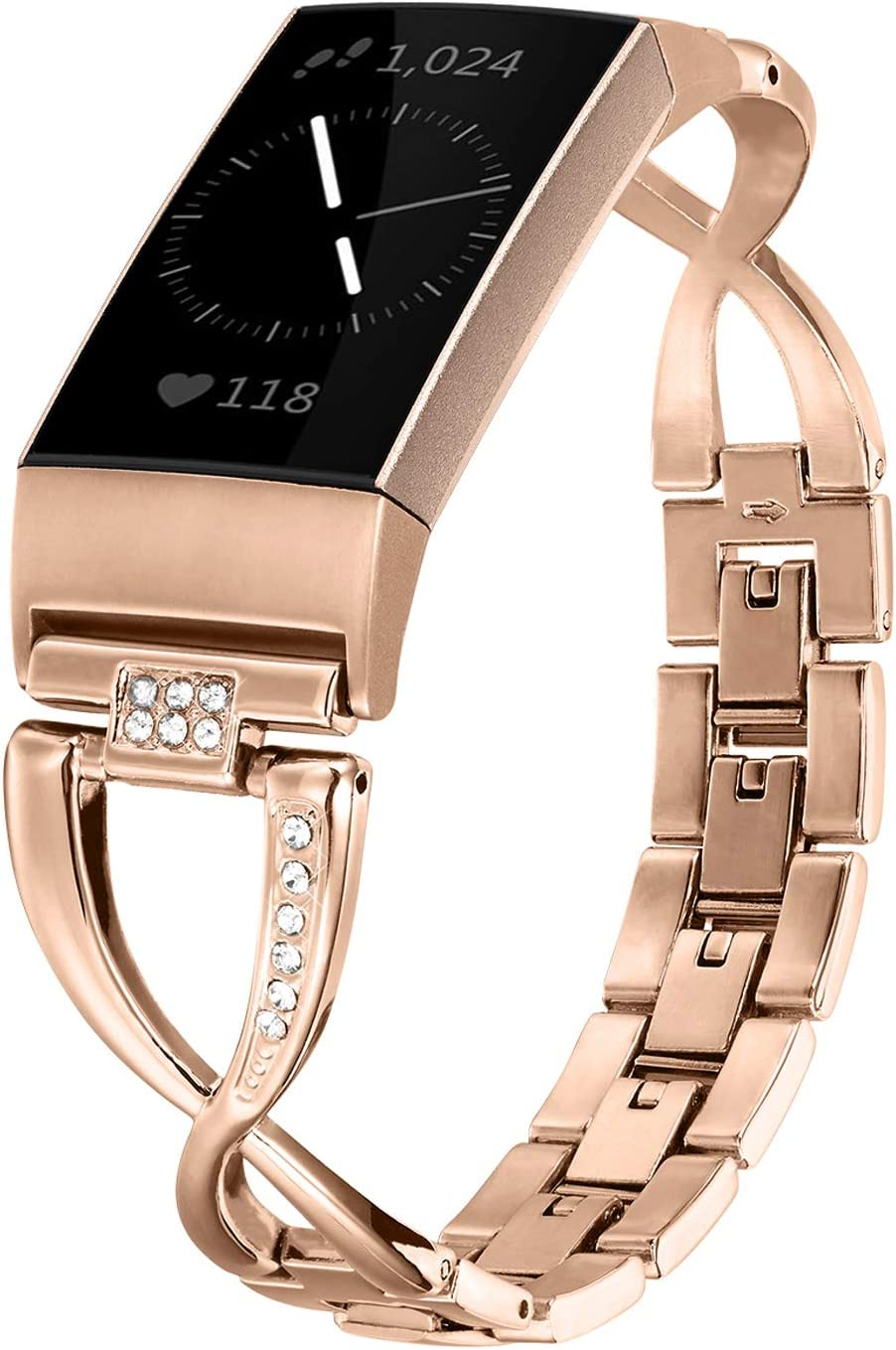 Silver-Upgrade Wearlizer Compatible Fitbit Charge 3 Bands and Charge 3 SE for Women Metal Replacement Fit Charge 3 hr Band Assesories Strap with Bling Rhinestone Bracelet Bangle