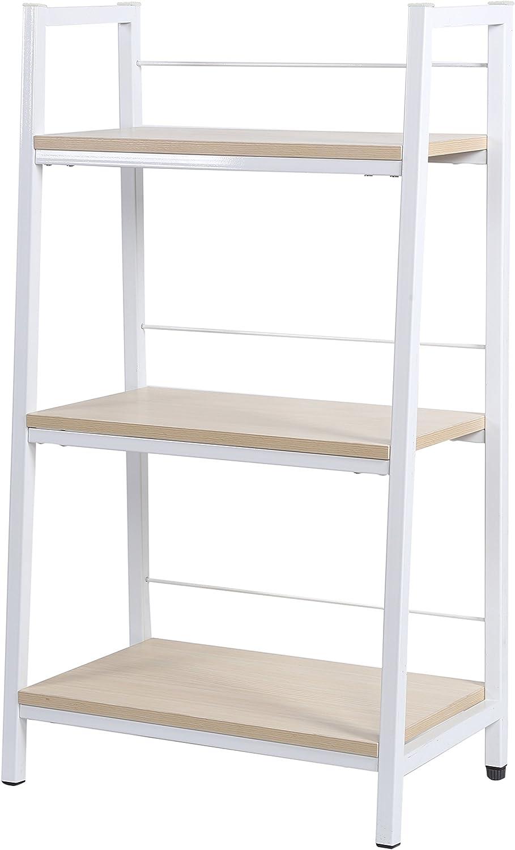 KELLIGO Bookcase Storage Ladder Shelf Rack CD Display 3-Tier for Living Room Office Home white