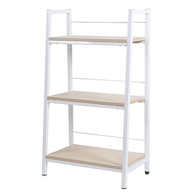 KELLIGO Bookcase Storage Ladder Shelf Rack CD Display 3-Tier for Living Room Office Home (white)