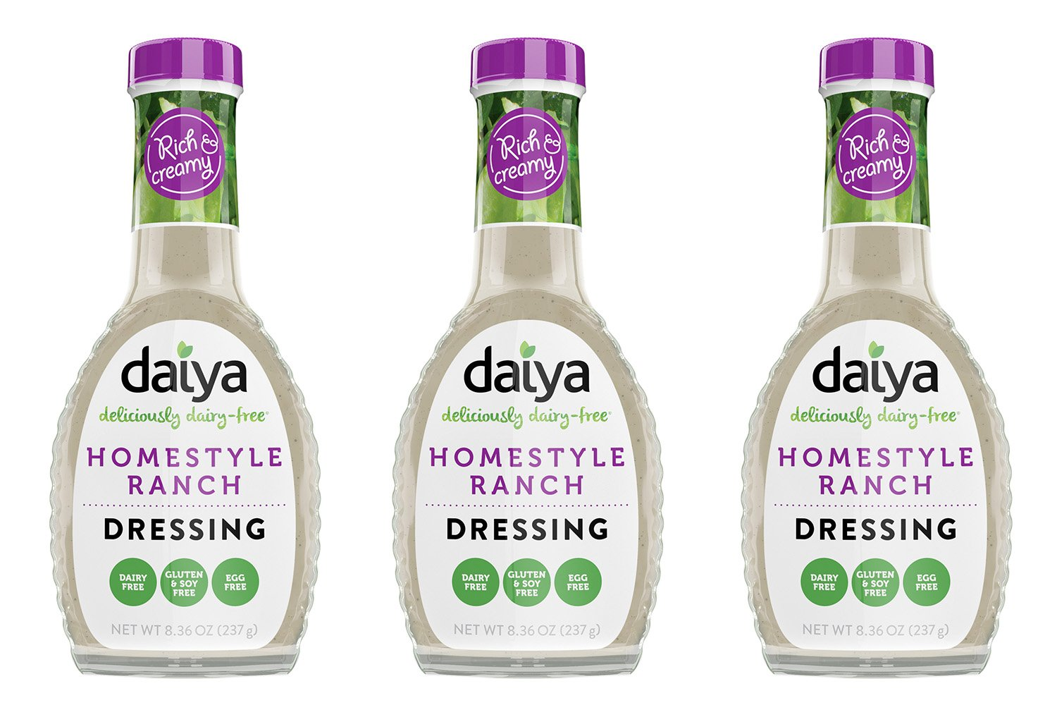 Daiya Homestyle Ranch Dressing, Dairy Free :: Rich & Creamy Salad Dressing :: Vegan, Gluten Free, Soy Free, Egg Free, Non GMO :: Deliciously Zesty Flavor For Pouring or Dipping, 8.36-Oz. (3 Pack)