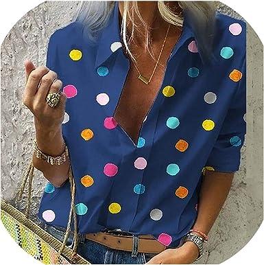 Tops - Blusa de manga larga para mujer, diseño de lunares ...