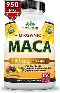 Organic Maca Root Black, Red, Yellow 1900 MG - 150 Vegan Capsules Peruvian Maca Root Gelatinized 100% Pure Non-GMO Supports Reproductive Health Natural Energizer