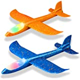"""2 Pack LED Light Airplane,17.5"""" Large Throwing Foam Plane,2 Flight Mode Glider Plane,Flying Toy for Kids,Gifts for 3 4 5…"""