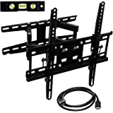 Mount-It! Full Motion Articulating TV Wall Mount | Heavy-Duty Tilt and Swivel TV Bracket for Large Screens | Corner TV Wall Mount with HDMI Cable | Black (MI-4461-CBL)
