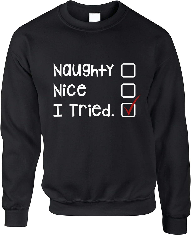 Christmas Womens Tee Naughty I Tried Santa/'s List Funny Xmas Joke Nice