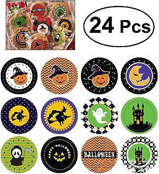 OULII Calabaza de Calabaza Candy Cookies Boxes Stickers Adorno para Halloween Party Favors Decoración Pack 24pcs ...