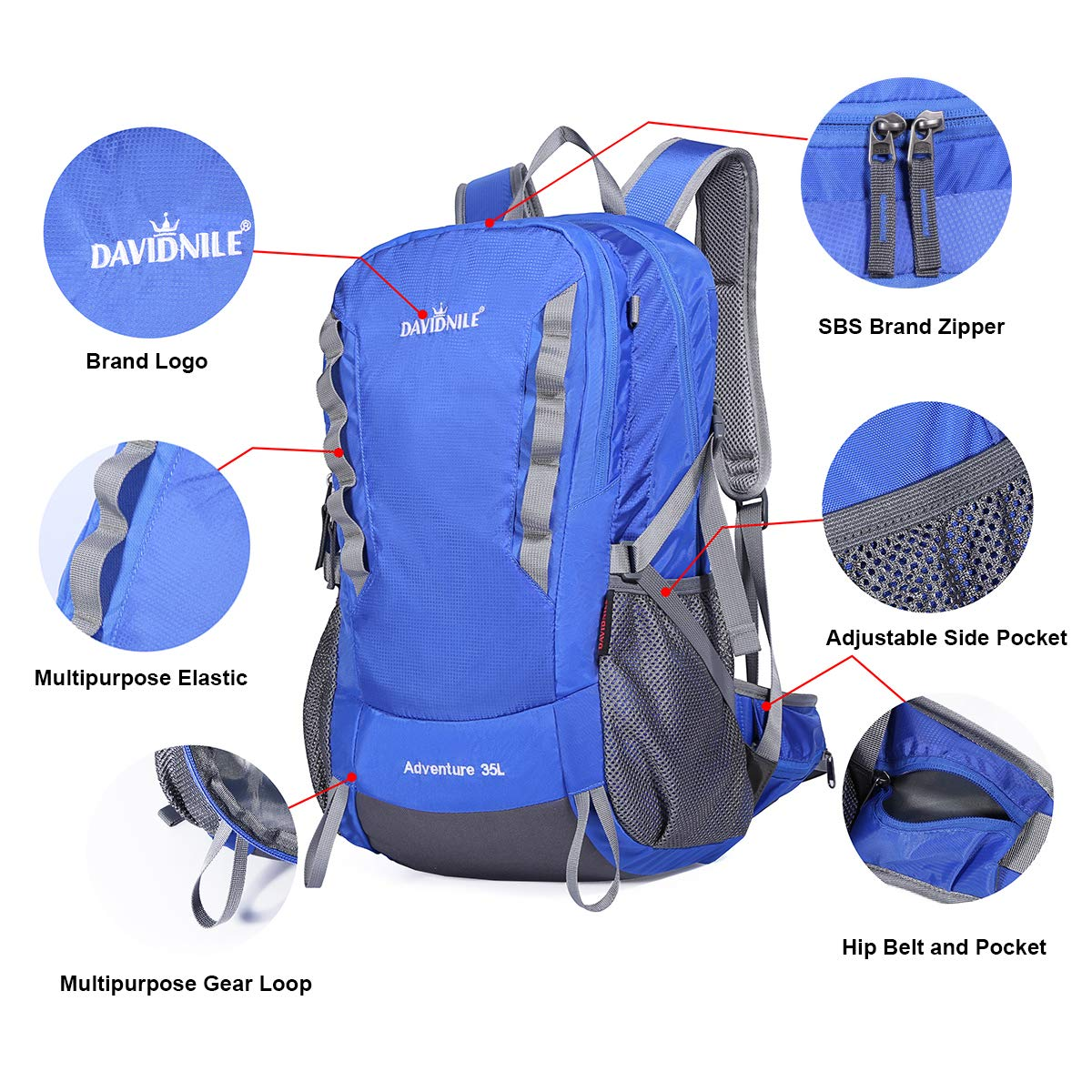 DAVIDNILE Hiking Backpack 35L Waterproof Outdoor Daypack for Men and Women Travel Camping Climbing