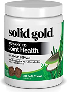 Solid Gold Glucosamine & Advanced Joint Health Chews for Dogs; Natural, Holistic Grain-Free Supplement with Glucosamine, MSM & Chondroitin; 120ct