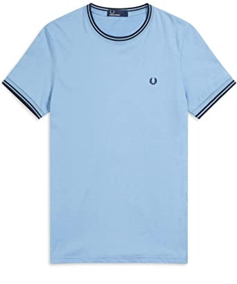 fdfcc00315b0 Fred Perry Men's Twin Tipped T-Shirt M1588 444 Blue: Amazon.co.uk ...