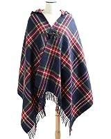 (エムエイチエー) M.H.A.style フード付き チェックストール ポンチョ 羽織 秋冬 上着 アウター 21004