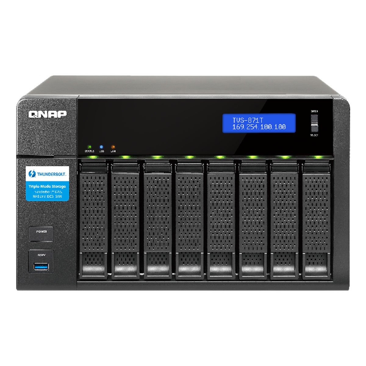 QNAP TVS-871T-i5 8-bay Thunderbolt 2 DAS/NAS/iSCSI IP-SAN Solution. Intel Core i5 with 16GB Memory by QNAP