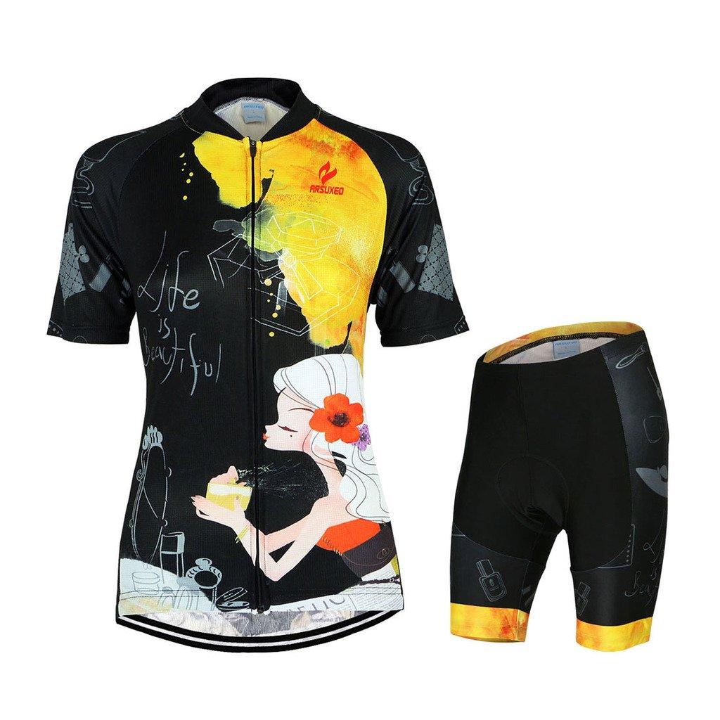 GWELL Damen Fahrradtrikot Set Fahrrad Anzug Trikot Kurzarm + Radhose mit 3D Sitzpolster