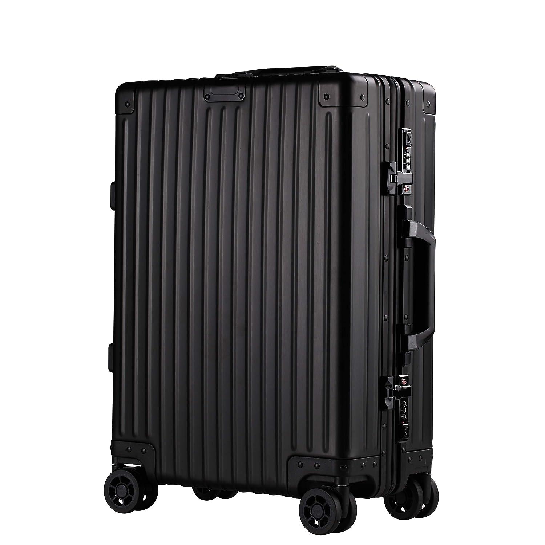 スーツケース キャリーケース 出張 旅行 レトロ 機内持ち込み可 TSAロック搭載 静音キャスター 鏡面 SMサイズ 全3色 ファスナーレス (M, ブラック)   B07KKDMGBM