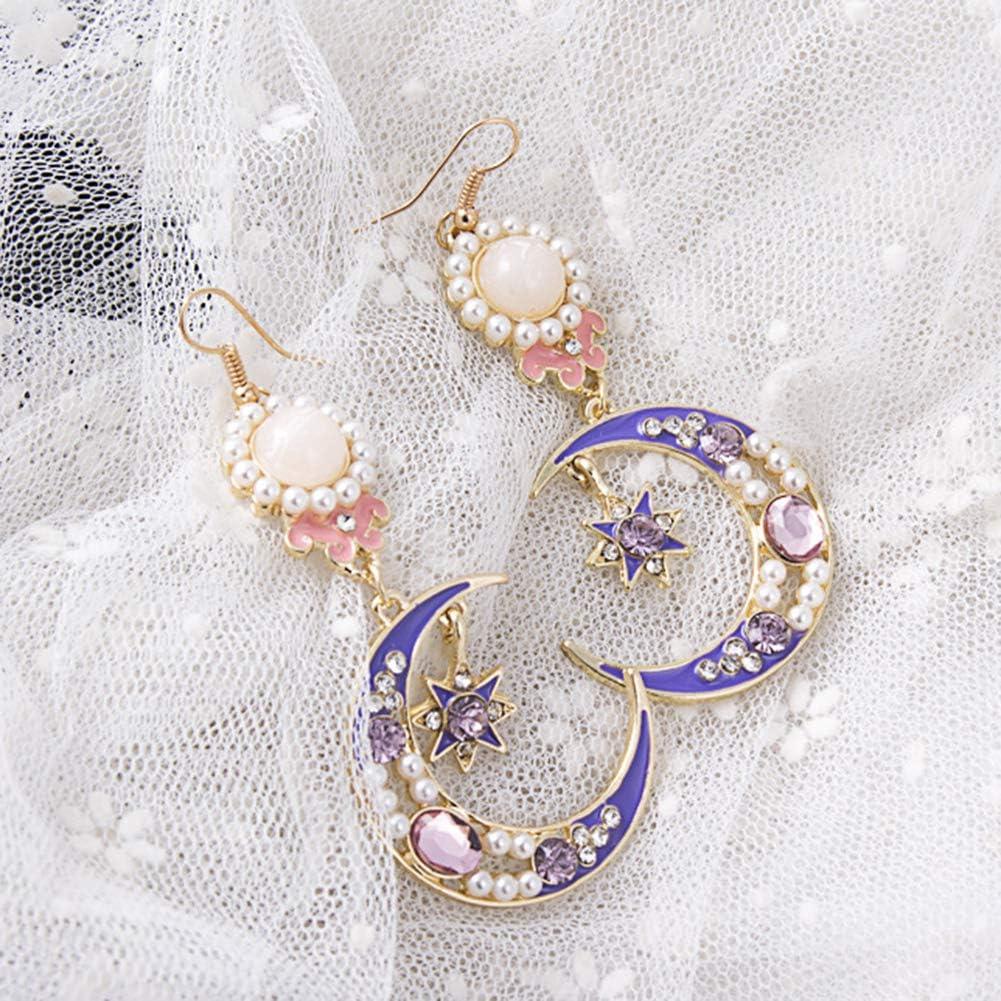 /Étoile Lune Ronde Tassel Dangle Boucles Doreilles Stud Femmes Bijoux Boucles Doreilles