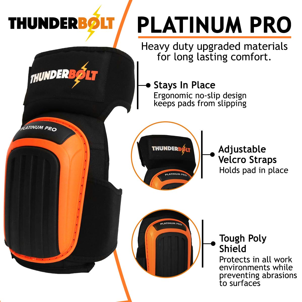 Knee Pads for Work by Thunderbolt with Heavy Duty Foam Cushioning and Gel Cushion Perfect for Construction, Flooring and Gardening with Adjustable Anti-Slip Straps by Thunderbolt (Image #4)