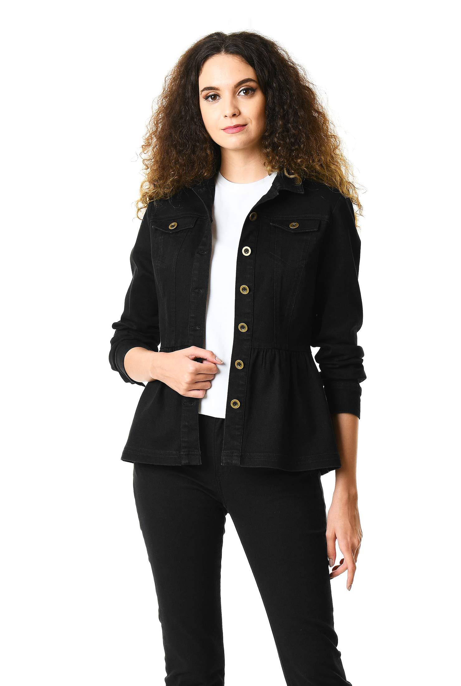 eShakti Women's Black Denim Peplum Jacket XS-0 Short Black