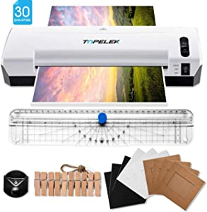 TOPELEK Laminator, 5-in-1 A4 Thermal Laminator Machine with 30 Laminating Pouches, Paper Trimmer, Corner Rounder, Photo Clip Kit, Hot & Cold Laminator for Home Office School