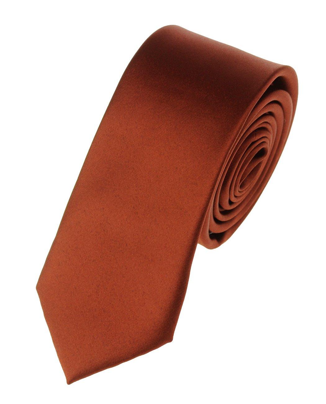 Mens Solid Color 2'' Skinny Tie- Cinnamon