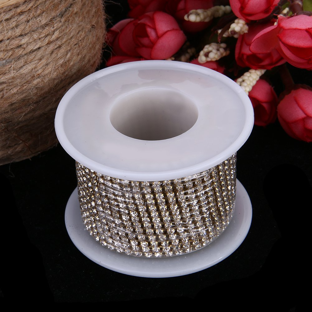 WinnerEco 10 Yards Clear Crystal Rhinestone Bead Strands for Home Party Wedding Decoration 2.5mm, Silver