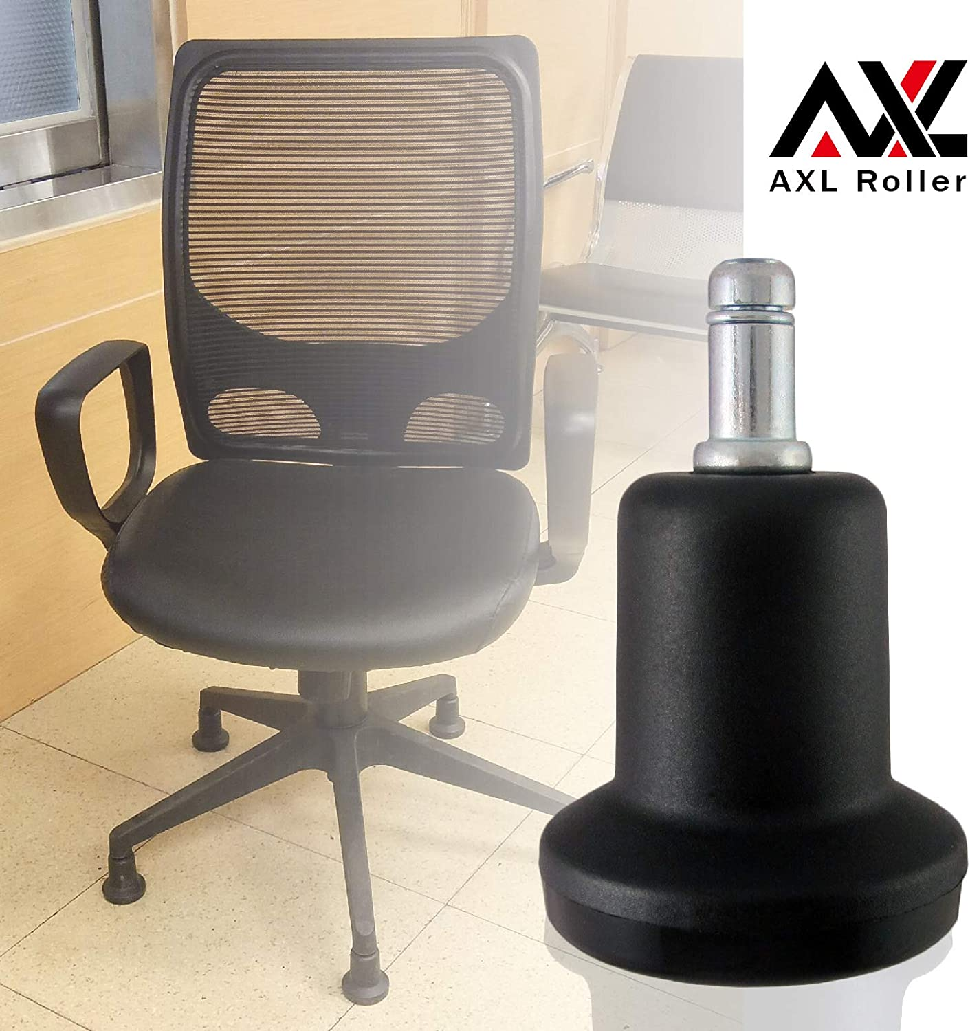AXL Chair Glides to Replace Casters, Office Chairs Stationery Office Replacement Chair Without Wheels and High Bell Glides - Set of 5 Pack (High)