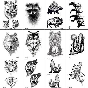 12 Hojas Lobo GeoméTrico Mapache Gato Tigre Impermeable MontañA ...