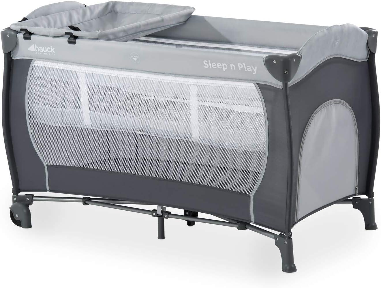 Hauck Sleep N Play Center - Cuna de viaje 7 piezas hasta 15 kg, altura recién nacido, con apertura lateral, ruedas, colchón, cambiador bebe, bolsa de transporte, plegable y regulable, gris