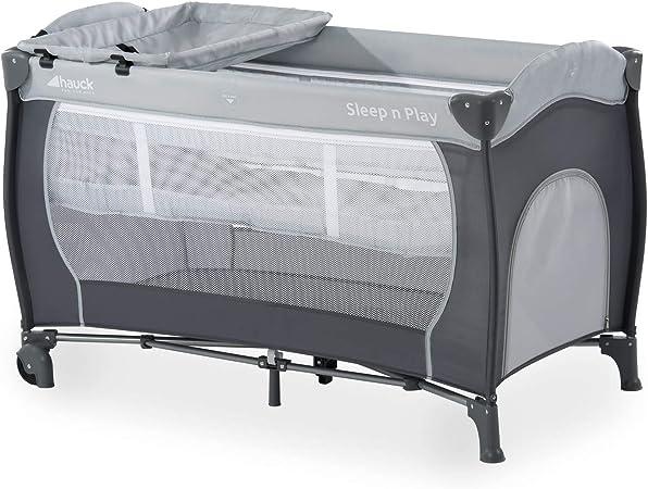 Comprar Hauck Sleep N Play Center - Cuna de viaje 7 piezas hasta 15 kg, altura recién nacido, con apertura lateral, ruedas, colchón, cambiador bebe, bolsa de transporte, plegable y regulable, gris
