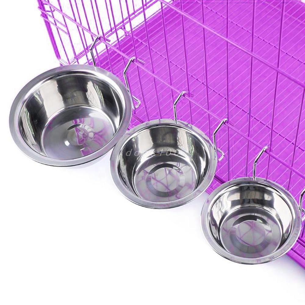 L Negly(TM) Stainless Steel Hanging Pet Cage Bowl Coop Cup Bird Cat Dog Puppy Food Water Bowl Pet Travel