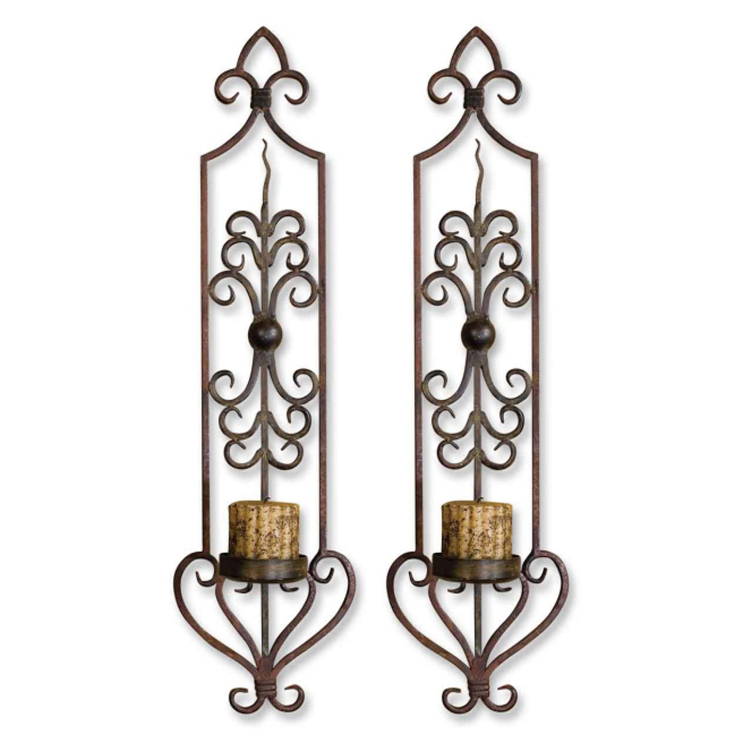 Uttermost 30 by 6-1/2 by 8-Inch Privas Wall Sconces, Set of 2