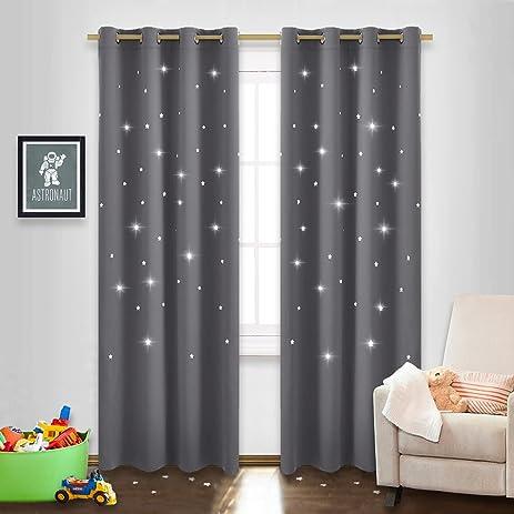 Grey Star Cutout Blackout Curtains   NICETOWN Sky Wonder Star Cut Out  Blackout Curtains For Bedroom
