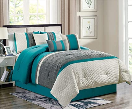 Gray Embroidered Bedding Set Empire Home 7-Piece Enas Comforter Set Turquoise