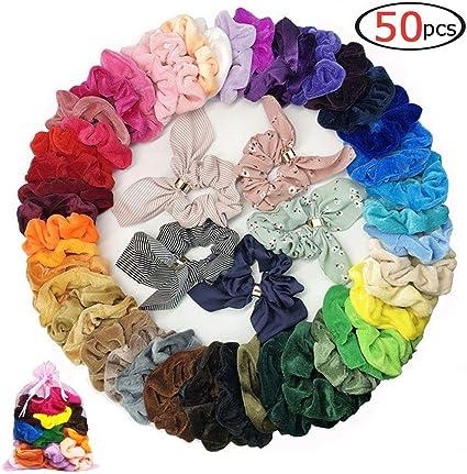 Assorted Colors Elastic Velvet Hair Scrunchies Ponytail Holder Band .