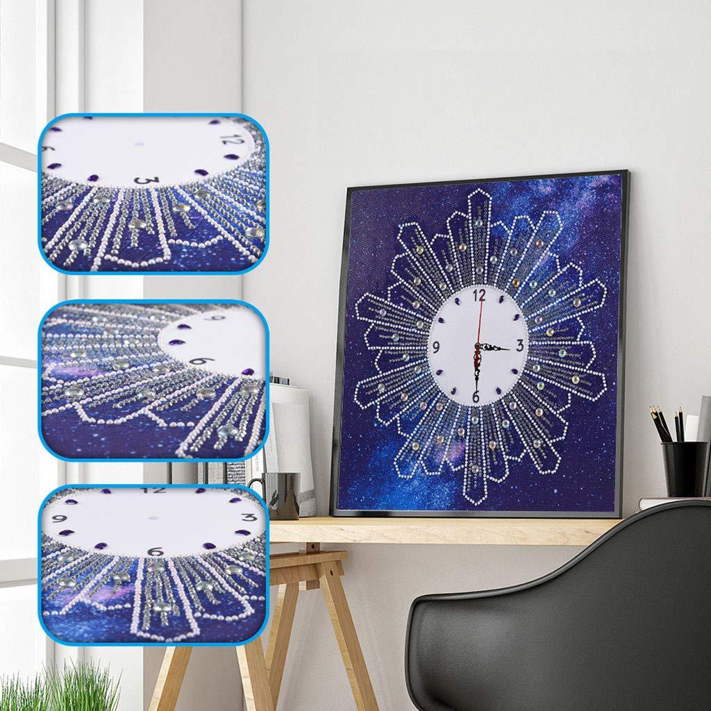 AmyGline Speziell geformte 5D Diamant Stickerei Kreuzstich Wanduhr DIY Diamant Malerei Home Wand-Dekor 35x35 cm