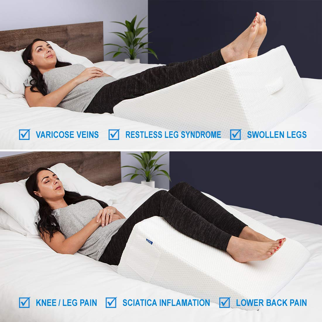 LUXELIFT Support Therapy Bed Wedge Pillow | Multipurpose adjustable 12 inch or 8 inch height | Stay-Cool Gel-Infused Memory Foam, Back & Leg Pillow | Back Pain, Injury, Reflux, GERD, Sinus & Snoring by Zenesse Health (Image #4)